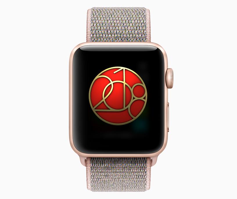Apple Watch 显示屏上的全民健身日奖章。