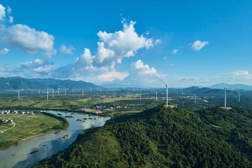 中国风电场的景观。