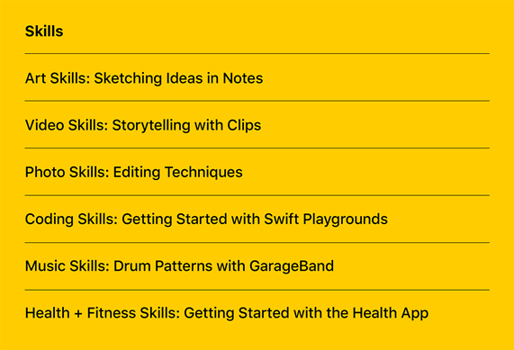 一系列新的 Today at Apple 技巧系列课程。
