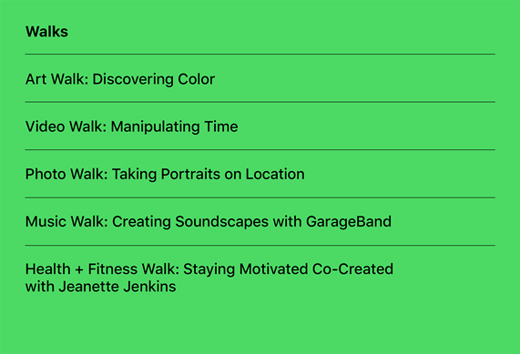 一系列新的 Today at Apple 漫步系列课程。