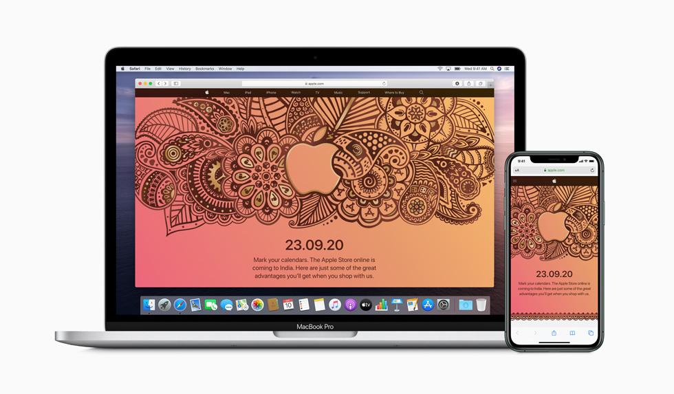 MacBook Pro 和 iPhone 11 Pro 上显示的 Apple Store 在线商店上线公告。