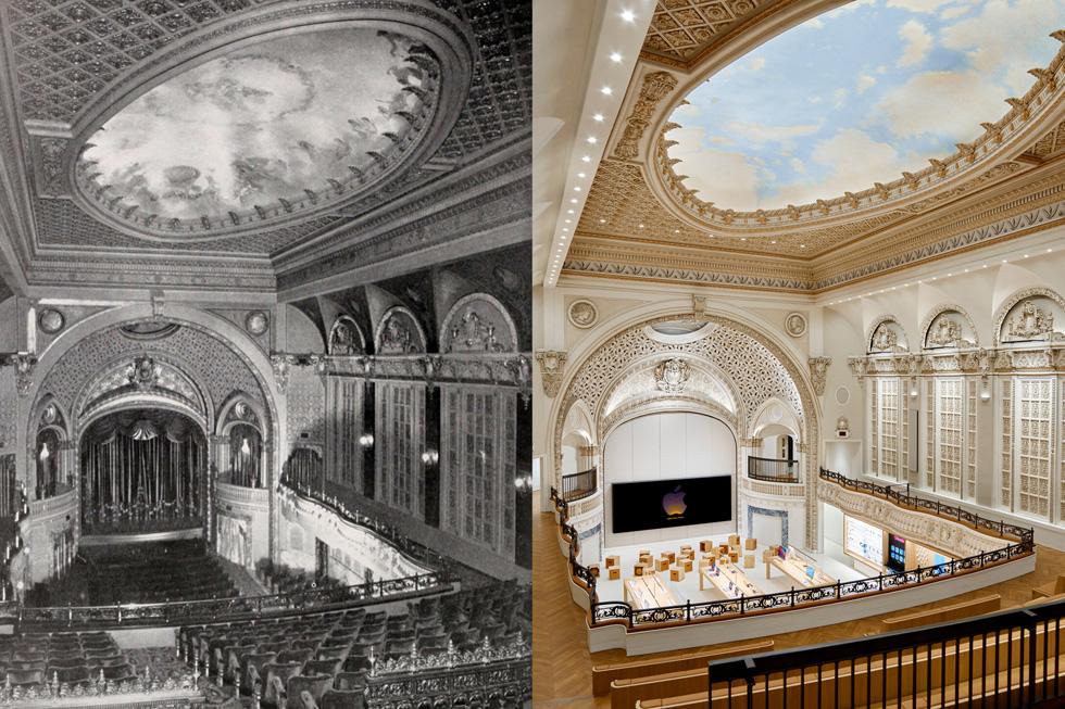 Tower Theatre 档案照片与经过彻底升级的 Apple Tower Theatre 照片对比,展示 Apple 如何卓有成效地保护并复原了这座剧院的恢弘与美观。