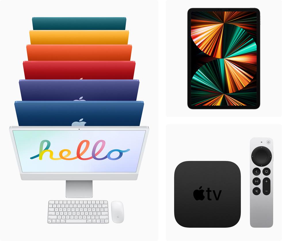 有七款颜色可选的全新 iMac 机型和 iPad Pro。