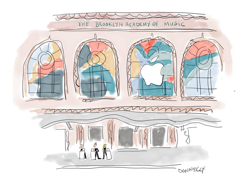 Liza Donnelly 绘制的布鲁克林音乐学院主题演讲的 iPad Pro 插图。