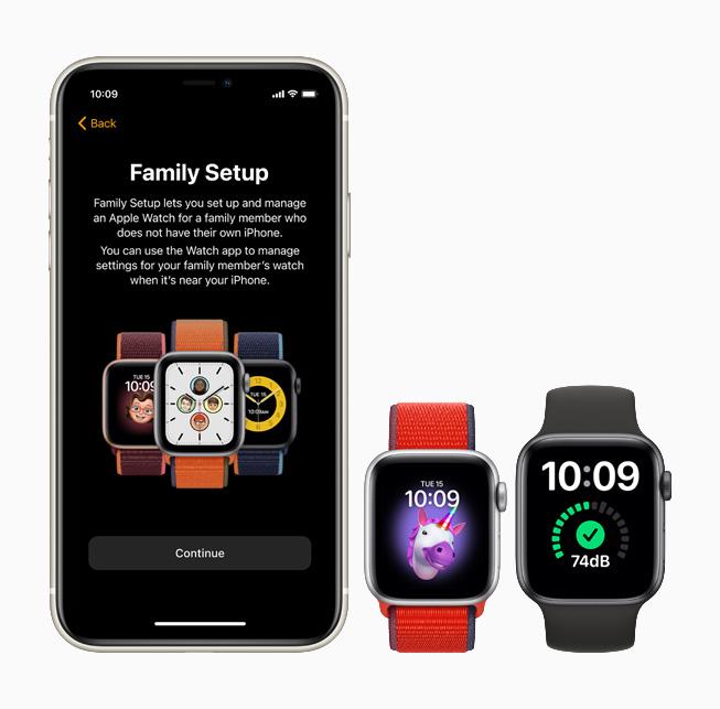 iPhone 11 Pro、Apple Watch SE 和 Apple Watch Series 6 上显示的家人共享设置功能。
