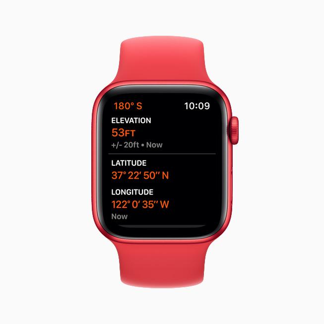 Apple Watch Series 6 上显示的高度计。