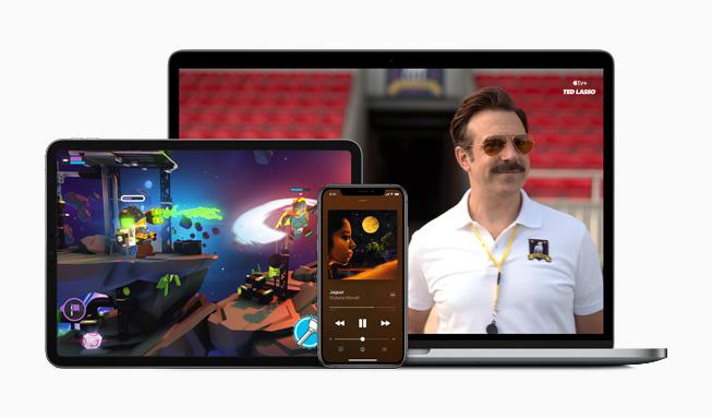 MacBook Pro、iPad Pro 和 iPhone 11 Pro 产品系列图片。
