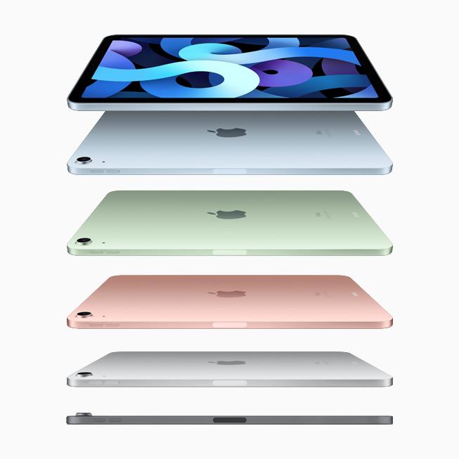 天蓝色、绿色、玫瑰金色、银色和深空灰色新款 iPad Air 产品系列图片。