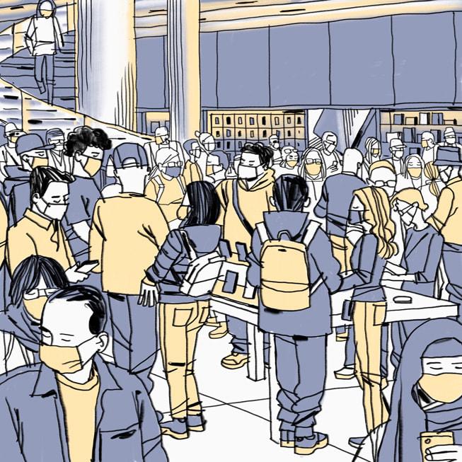 灰黄色调的插画,描绘出 Apple Fifth Avenue 零售店内的情景,由 Jorge Colombo 在 iPad mini 上绘制。