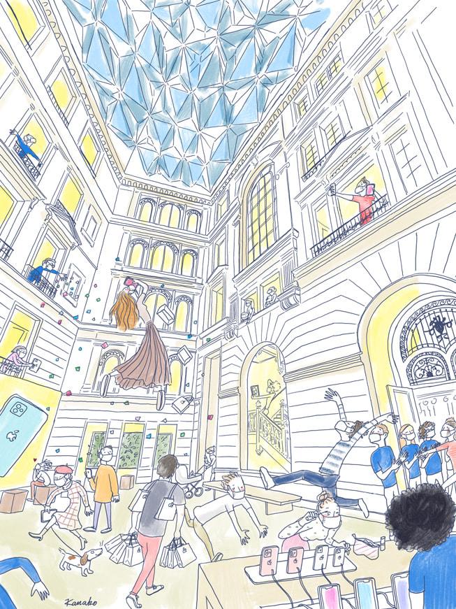 多彩的插画,描绘出 Apple Champs-Élysées 零售店内的场景,由 Kanako Kuno 在 iPad mini 上绘制。