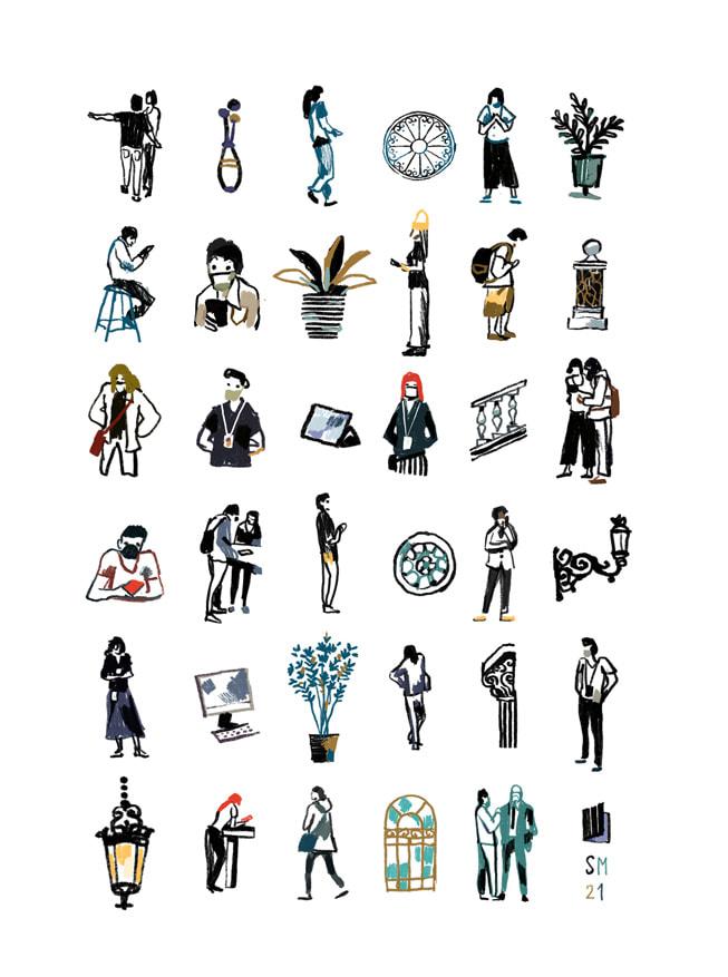 6 x 6 网格插画,描绘出罗马 Apple Via del Corso 零售店内的场景,由 Simone Massoni 在 iPad mini 上绘制。