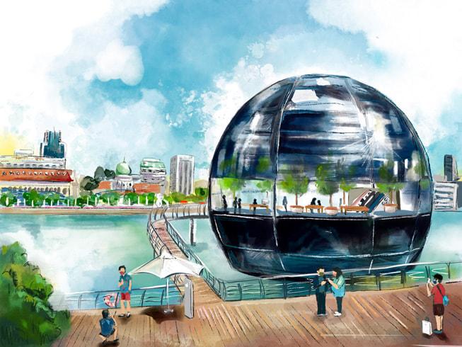 多彩的插画,描绘出 Apple Marina Bay Sands 零售店内的场景,由 Tiffany Lovage 在 iPad mini 上绘制。