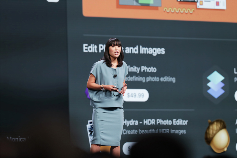 Ann Thai 在 WWDC 2018 的台上介绍 Mac App Store。