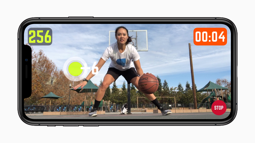 iPhone 上显示 HomeCourt AR 体验。