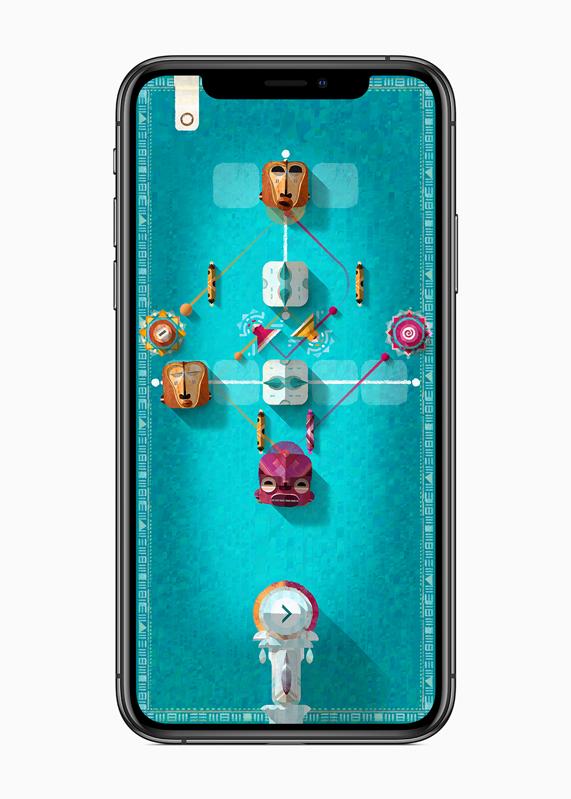 iPhone 显示音乐解谜游戏《ELOH》的游戏玩法。
