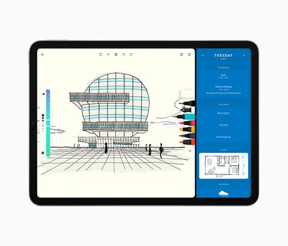 iPad 显示在 Moleskine 开发的《Flow》中勾画的草图。