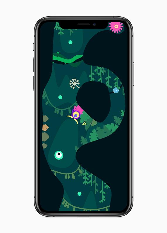 iPhone 显示单指操作的动作游戏《Ordia》的游戏玩法。