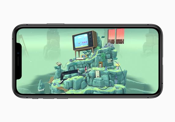 iPhone XS 上显示《花园之间》的游戏玩法。