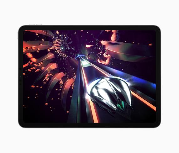 iPad 上显示《Thumper》的游戏玩法。