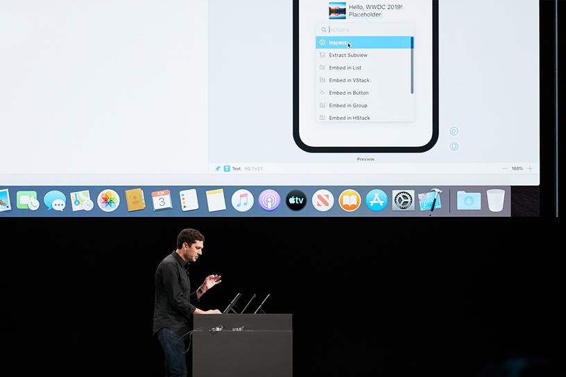 Josh Shaffer 在 WWDC 2019 演讲台上。