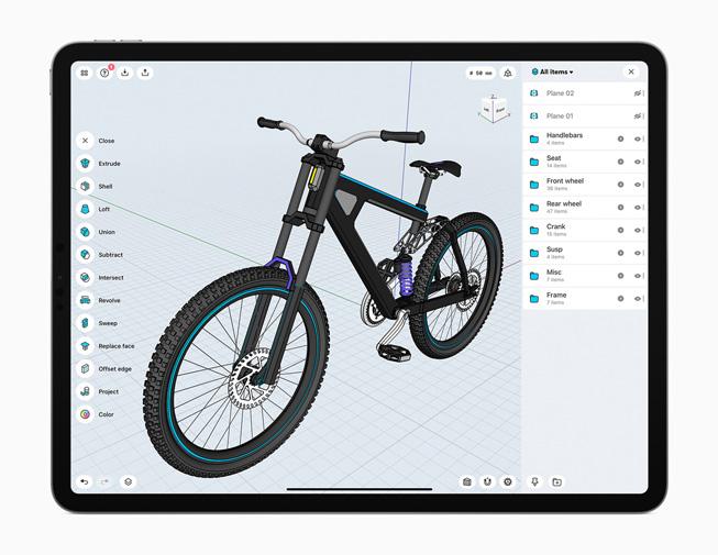iPad Pro 展示 Shapr 3D app。