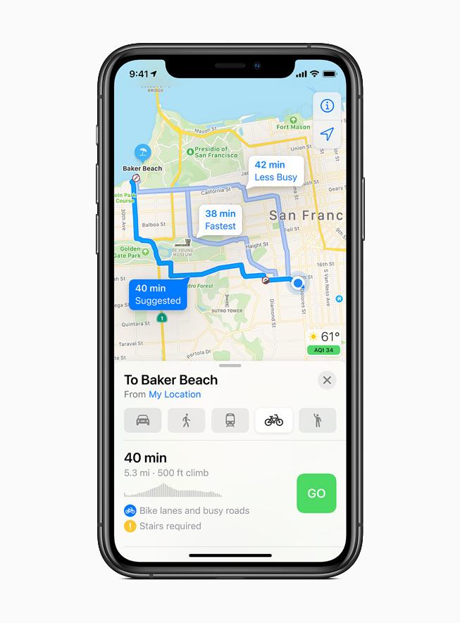 iPhone 11 Pro 上显示骑行路线。