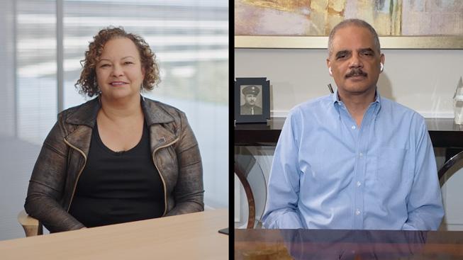 Apple 的 Lisa Jackson 和美国前司法部长 Eric Holder。