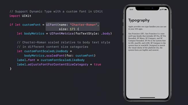 几行代码显示在 iPhone 11 Pro 的图片旁边,屏幕上展示了字体排版课程。