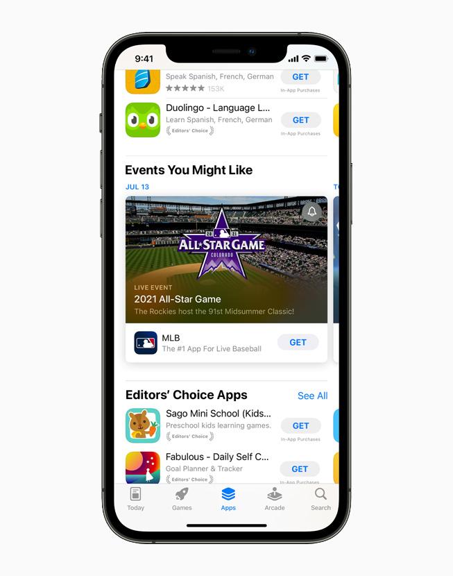 """一台 iPhone 12 Pro 上正在展示 App Store 里的""""你可能喜欢的活动""""与""""编辑精选 App""""页面。"""