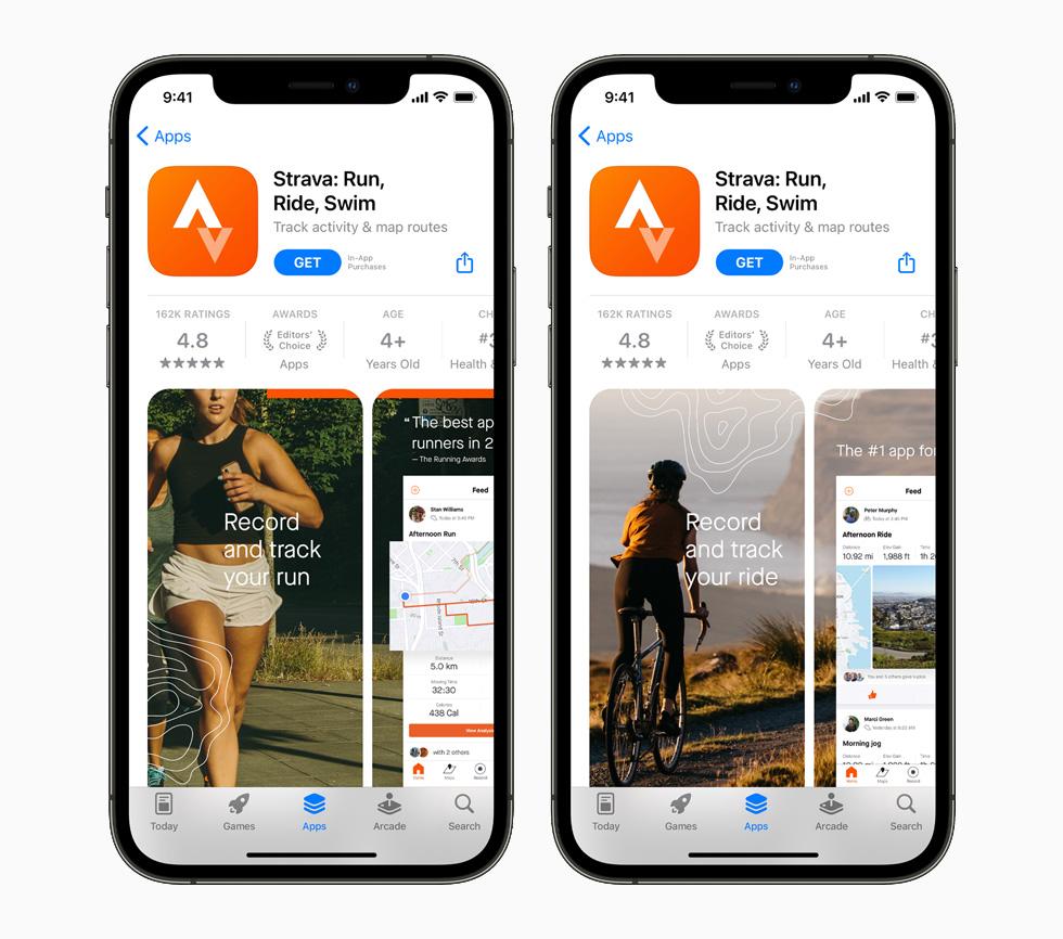 一台 iPhone 12 Pro 上正在展示 Strava app。
