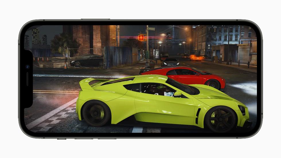 在 iPhone 12 Pro 上展示的提升的游戏表现。
