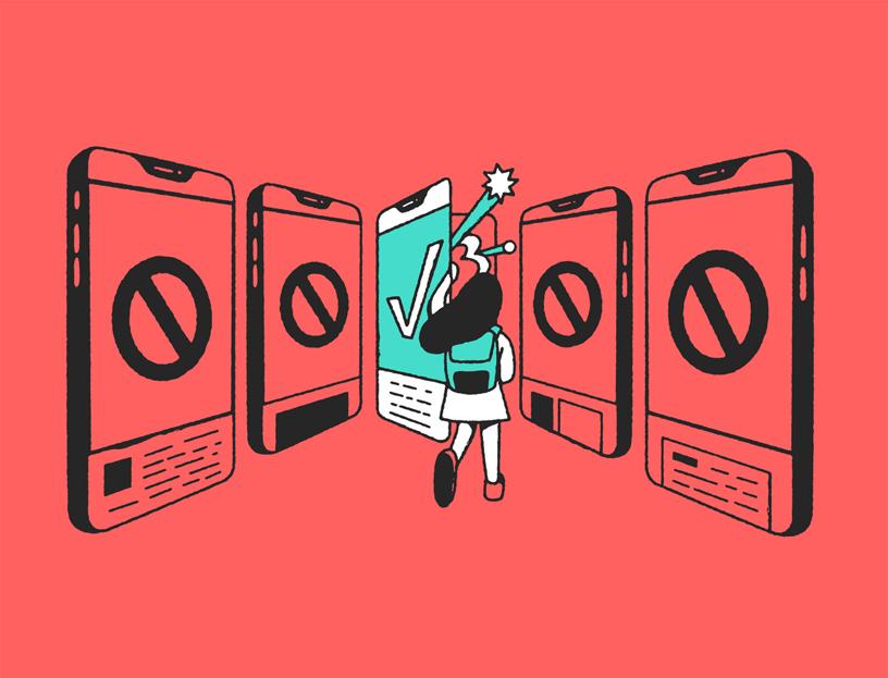 插图中的女孩注视着被标有禁止记号的电话包围的带对勾标记的电话。
