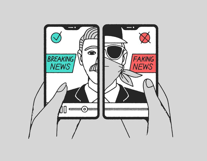 """插图所示的两部手机分别显示""""突发新闻""""和""""虚假新闻""""。"""