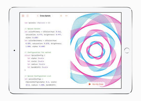 iPad Pro 显示的为 Swift 编程示例。