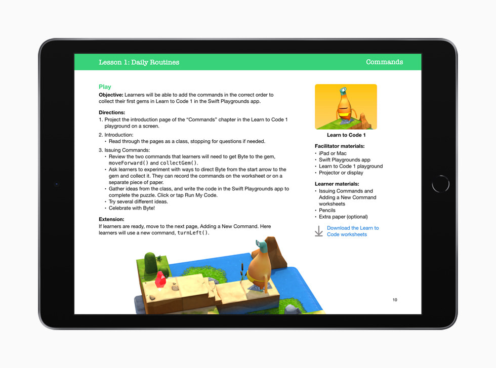 "iPad 上显示的""人人能编程:早期学习者"" 指南中介绍在 Swift Playgrounds app 里编写命令的课程。"