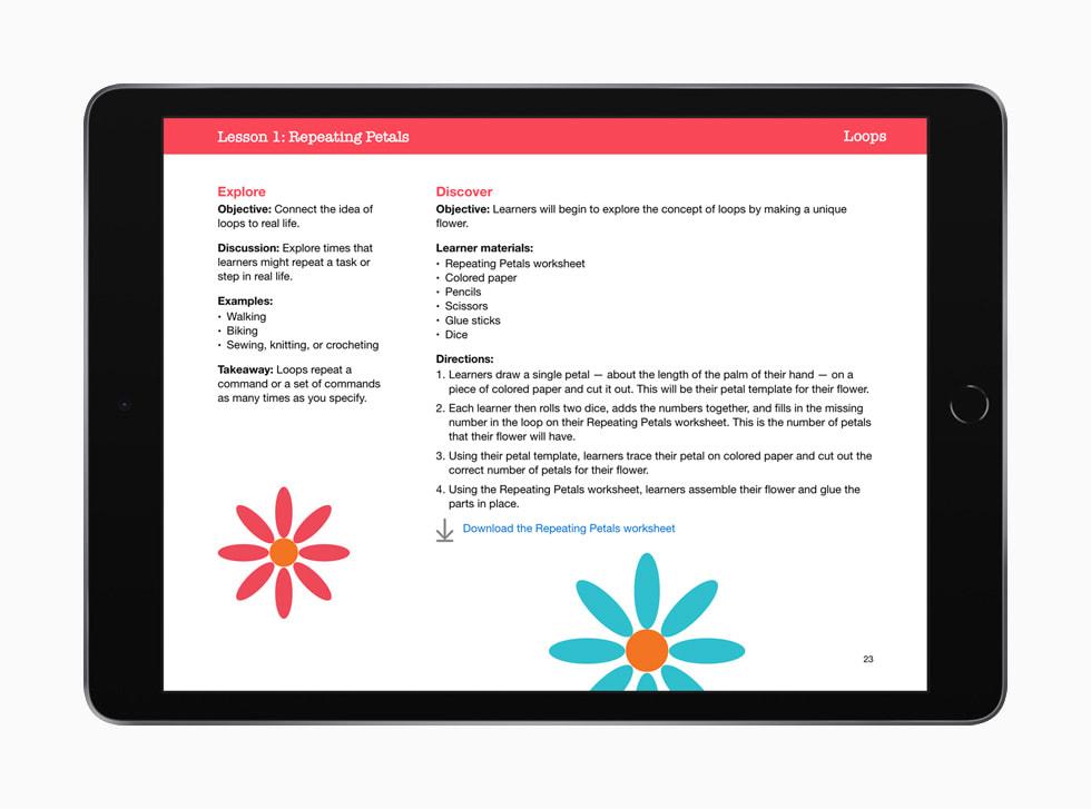 """iPad 上显示的 """"人人能编程:早期学习者"""" 指南第一课:重复花瓣。"""
