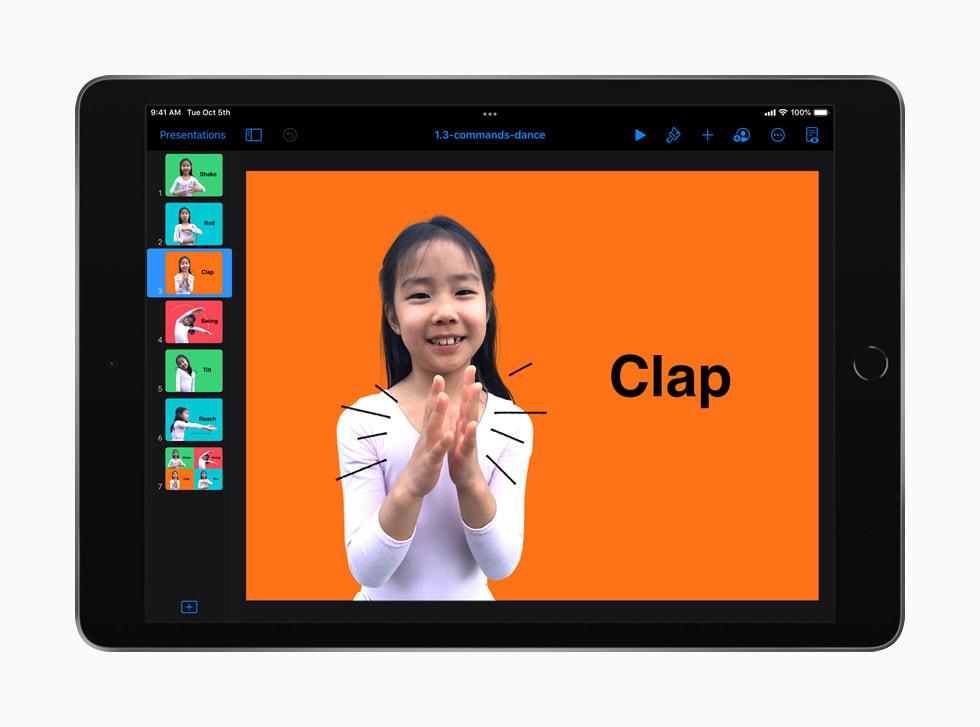 """iPad 上显示的 """"人人能编程:早期学习者"""" 指南中通过舞蹈动作介绍编程命令的课程。"""