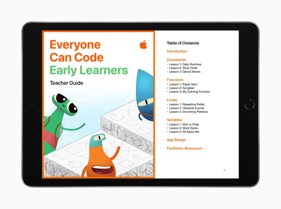 "iPad 上显示的 ""人人能编程:早期学习者"" 教师指南目录。"