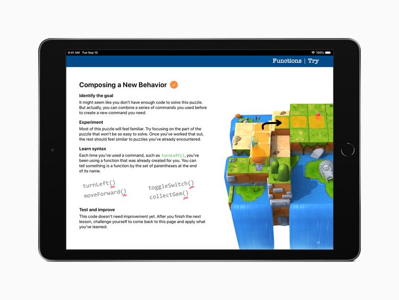"iPad 上的""人人能编程谜题""。"