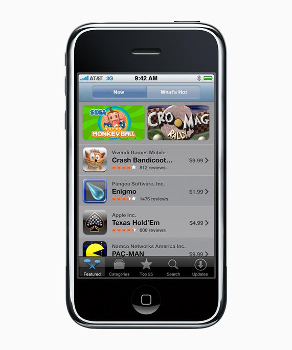 第一代 iPhone 屏幕上展示最初版本的 iOS App Store。
