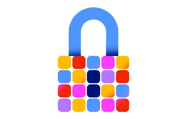 一个上锁的挂锁形状由 app 图标拼成,象征 App Store 的安全性。