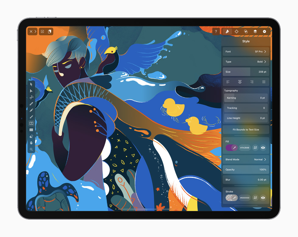 iPad Pro 上正在展示 Vectornator