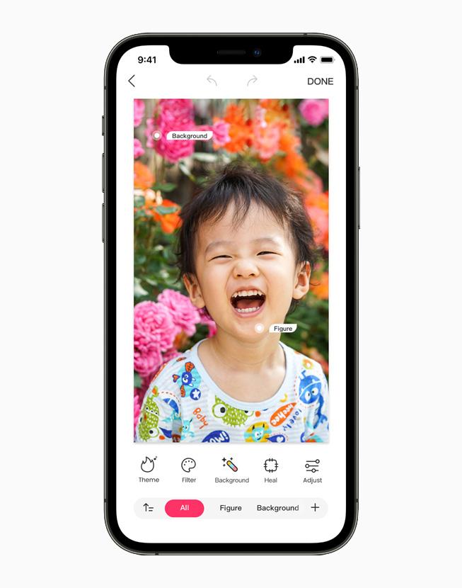 iPhone 12 Pro 上的照片正在展示马卡龙玩图 app 上的编辑工具。