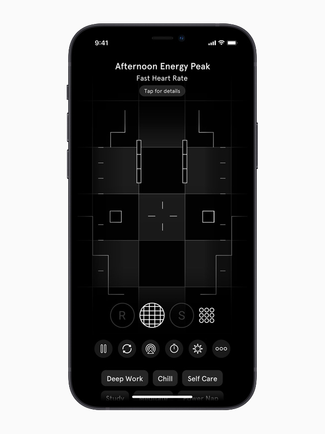 在 iPhone 12 上的 Endel app 显示 Afternoon Energy Peak 画面。