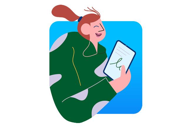 图片展示一名女性在使用 MacBook。