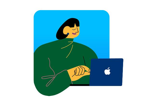 图片展示一名女性在使用 iPad。