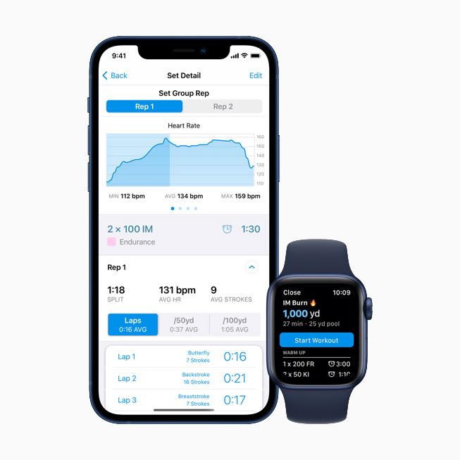 iPhone 12 和 Apple Watch Series 6 上显示 MySwimPro app。