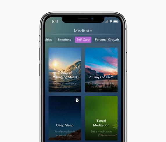 iPhone 屏幕上显示 Calm 的冥想 app。