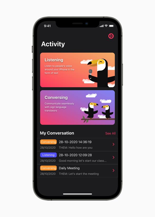 iPhone 12 Pro 上展示 Hearo app。