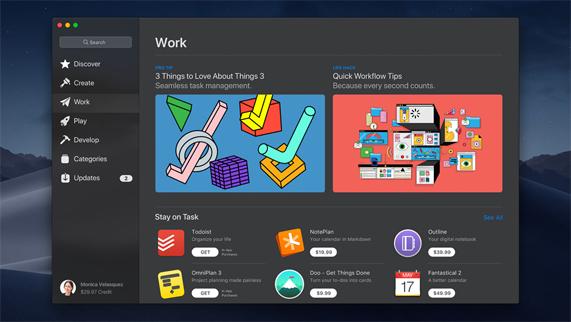 "Mac App Store 中显示的新 ""工作"" 标签"